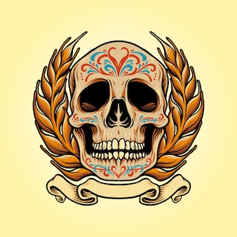 Mexiko schädel muertos mit bannerillustrationen
