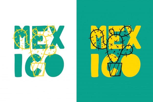 Mexiko-schriftzug mit kaktus