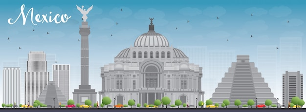 Mexiko-skyline mit grauen marksteinen und blauem himmel.