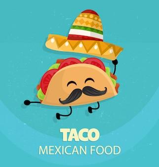 Mexiko-taco mit hutplakat