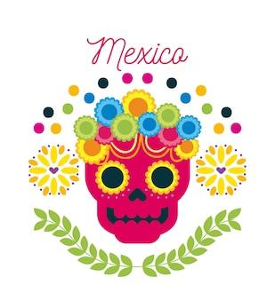 Mexiko-tag des toten schädels mit blumenverzierung