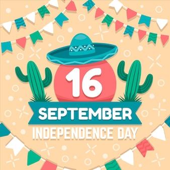 Mexiko unabhängigkeitstag im flachen design