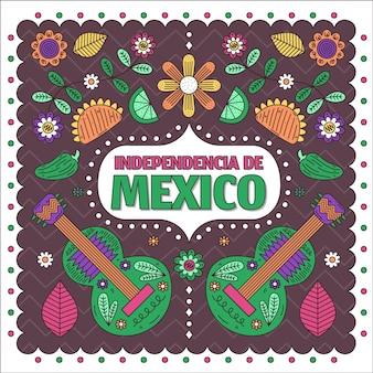 Mexiko unabhängigkeitstag im papierstil