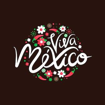 Mexiko unabhängigkeitstag schriftzug konzept