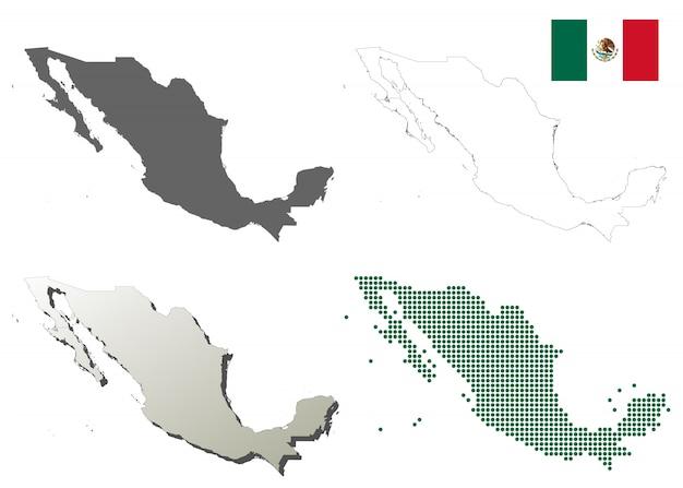 Mexiko-vektor-übersichtskarte-set