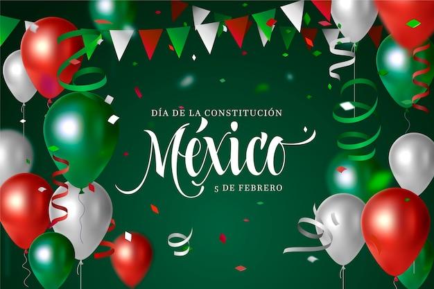 Mexiko verfassungstag mit realistischen luftballons Kostenlosen Vektoren