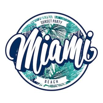Miami beach abzeichen schriftzug