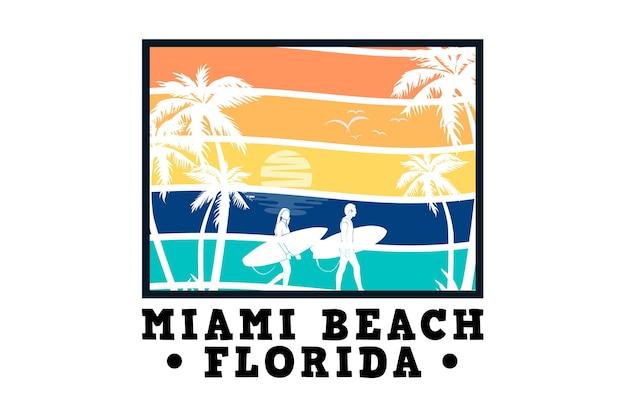 Miami beach florida, design im sleety retro-stil
