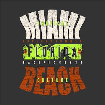 Miami beach florida tropischer sonnenuntergang surf rider t-shirt druckgrafik und andere verwendung