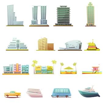 Miami beach-gebäudestadtlandschaftstouristenanziehungskräfte und retro- karikatur des transportes