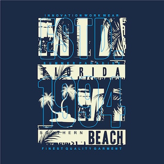 Miami beach mit grafischer typografie-designillustration der palme für druck-t-shirt
