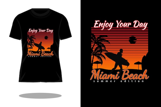 Miami beach retro-silhouette-t-shirt-design