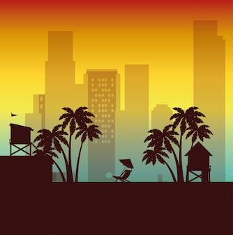 Miami beach stadtbild szene vektor illustration design