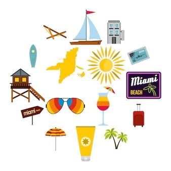 Miami icons set, flachen stil