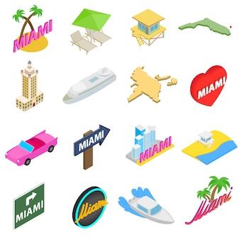 Miami-ikonen stellten in die isometrische art 3d ein, die auf weißem hintergrund lokalisiert wurde