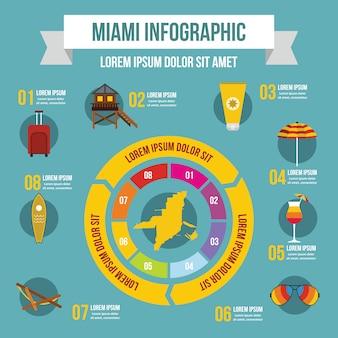 Miami infographik vorlage, flachen stil