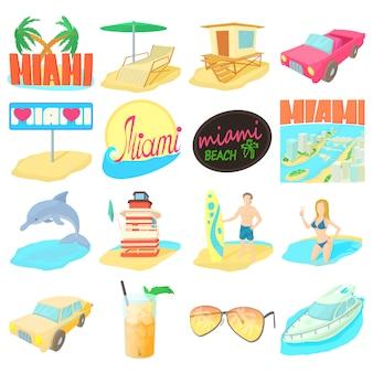 Miami itravel icons set