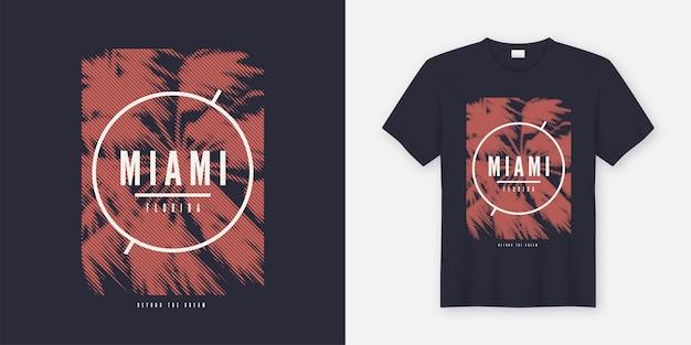 Miami jenseits des traum-t-shirts und des trendigen kleidungsdesigns mit gestylter palme