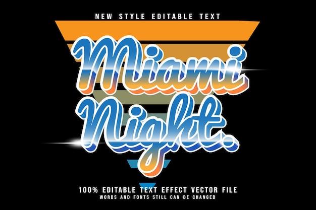 Miami nacht editierbarer texteffekt prägen retro-stil
