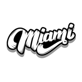 Miami. schriftzug auf weißem hintergrund. illustration