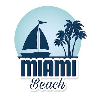 Miami-strand kalifornien-dichtungsvektor-illustrationsdesign