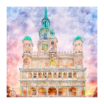 Miasto poznan poland aquarell skizze hand gezeichnete illustration