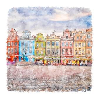 Miasto poznan polen aquarell handgezeichnete illustration