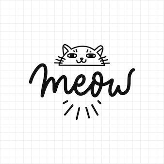 Miau-katzen, die gekritzel beschriften