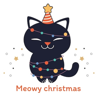 Miau weihnachten. süße katze mit glühbirne und partyhut in der flachen artillustration