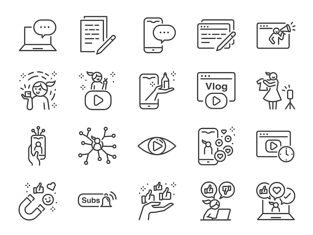 Micro influencer und blog line icon set. enthaltene symbole wie bewertungen, soziale medien, werbung, anzeigen von raten wie, vlog und mehr.