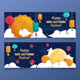 Mid-autumn festival banner vorlage stil