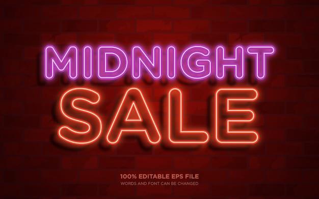 Midnight sale 3d bearbeitbarer textstileffekt