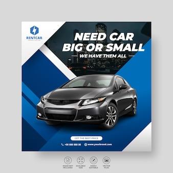 Mieten sie auto für sozialmedien post banner neue vorlage