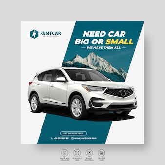 Mieten sie auto für sozialmedien post banner template luxus