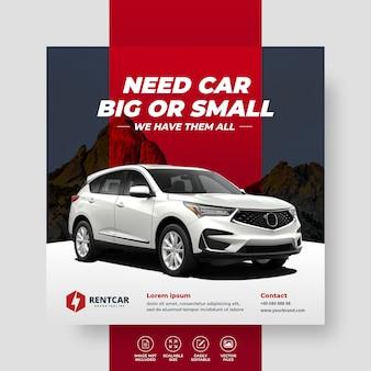 Mieten sie auto für sozialmedien post banner template