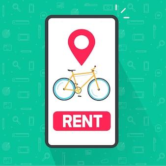 Mieten sie eine fahrrad-app auf dem handy-vektor oder einen fahrradverleih online auf dem smartphone