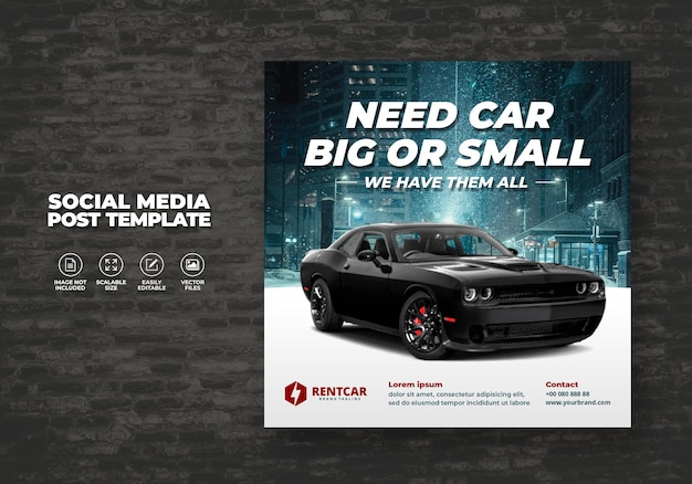 Mieten und verkaufen sie auto für sozialmedien instagram post banner modern template