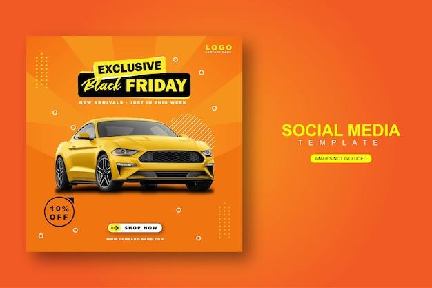 Mietwagen für social media instagram post banner vorlage
