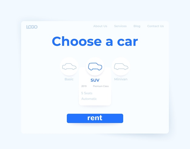 Mietwagen-service, webseiten-design