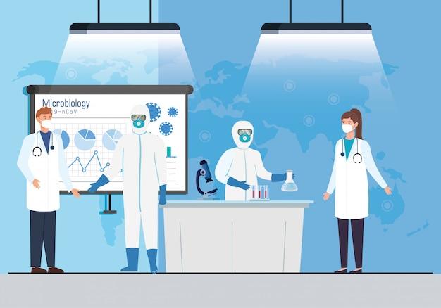 Mikrobiologie-infografik für covid 19 mit medizinischem personal