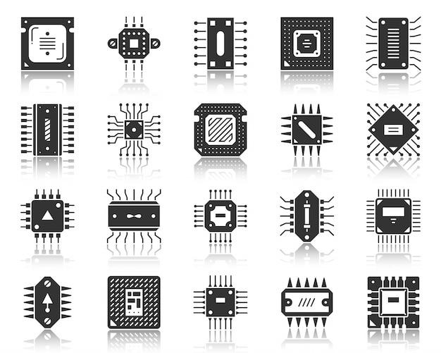 Mikrochip-cpu-schwarzglyphe, schattenbildikonensatz, mikroprozessor-pc-komponente, high-teche technologie.