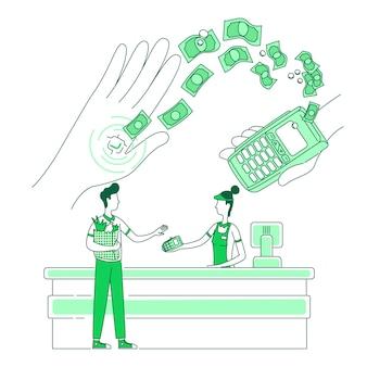 Mikrochip eingebettet in die dünne linienkonzeptillustration der menschlichen hand. bargeldloses einkaufen, menschen mit chip- und terminal-2d-zeichentrickfigur für webdesign. kreative idee für nfc-zahlungen