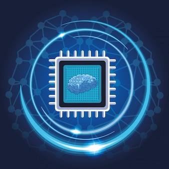 Mikrochip mit gehirn