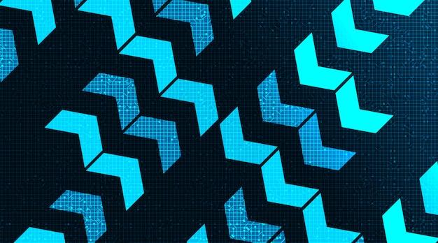 Mikrochip-technologie für digitale pfeilschaltungen auf zukünftigem hintergrund, high-tech-digital- und geschwindigkeitskonzept