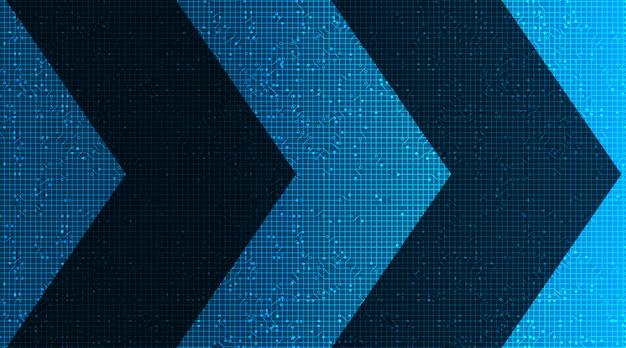 Mikrochip-technologie für digitale pfeilschaltungen auf zukünftigem hintergrund, high-tech-digital- und geschwindigkeitskonzeptdesign
