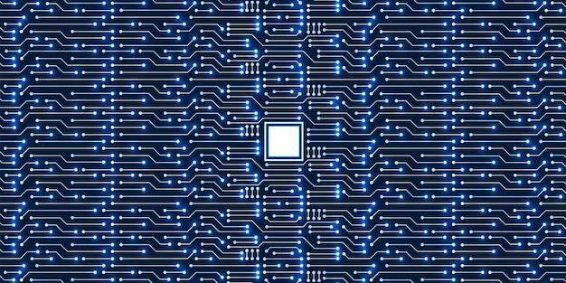 Mikrochip-technologiehintergrund, blaues digitales leiterplattenmuster