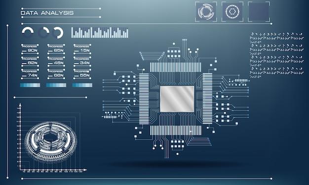 Mikrochipprozessor mit lichtern. leiterplattentechnik