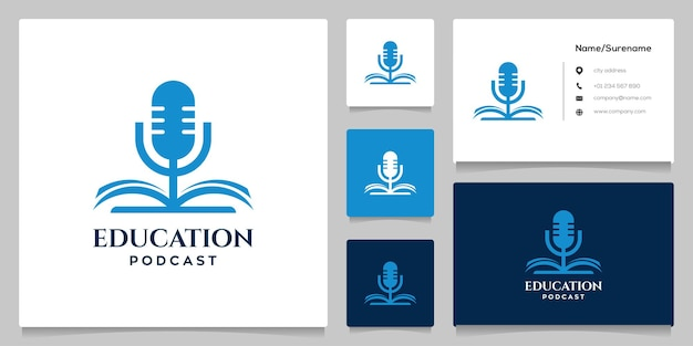 Mikrofon auf buchbildung podcast einfaches konzept logo design illustration
