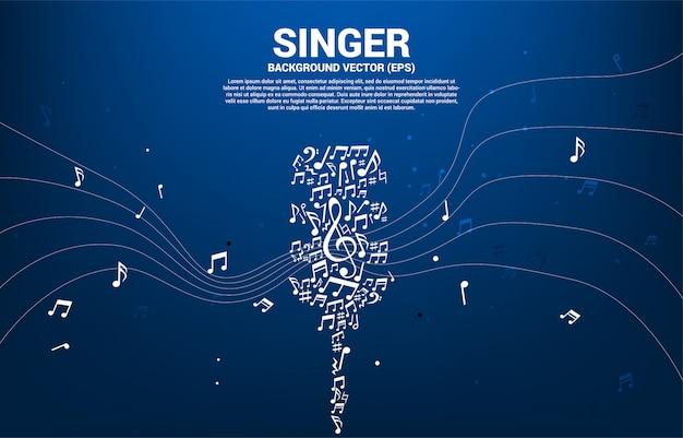 Mikrofon aus musik note melodie hintergrund