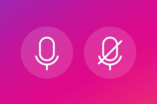 Mikrofon aus und an, linienvektorsymbole
